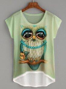 Owl Print High Low T-shirt
