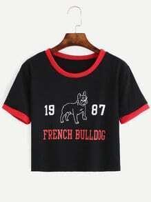 Black Bulldog Print Contrast Trim T-shirt