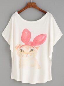 White Cat Print Loose T-shirt