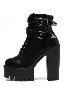 Black Round Toe Lace-up Buckle Chunky Boots