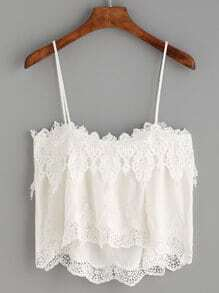 White Lace Trim Cami Top