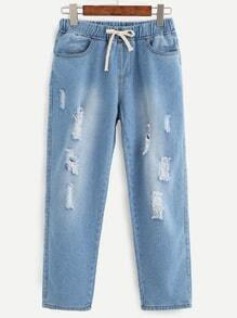 Blue Ripped Drawstring Waist Jeans