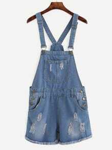 Blue Ripped Raw Hem Overall Denim Shorts
