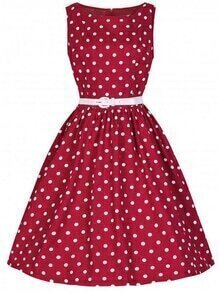 Red Polka Dot Print Boat Neck Flare Dress With Belt