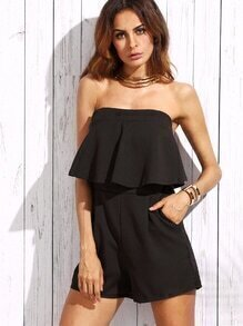 Black Fold Over Ruffle Zipper Back Strapless Romper