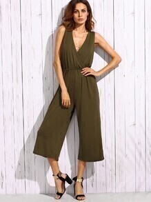 Army Green Deep V Neck Strappy Back Wide Leg Jumpsuit