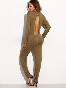 Army Green Deep V Neck Cutout Back Long Sleeve Jumpsuit