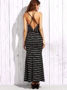 Black Striped Strappy Bow Back Maxi Dress