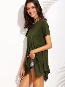 Army Green Asymmetrical T-shirt