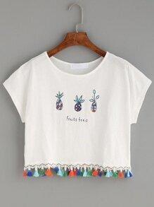 White Letters Pineapple Print Fringe T-shirt