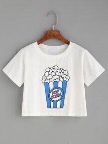 White Popcorn Print T-shirt