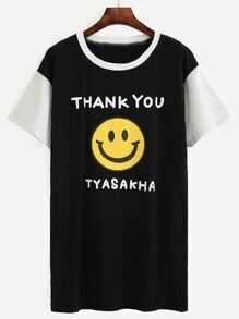 Color Block Slogan Smiley Face Print Tee Dress