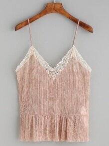 Pink Lace Trim Peplum Cami Top