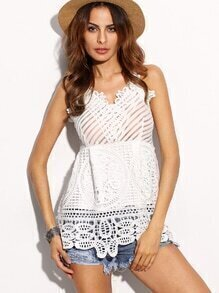 White Crochet Hollow Out Strappy Back Cami Top