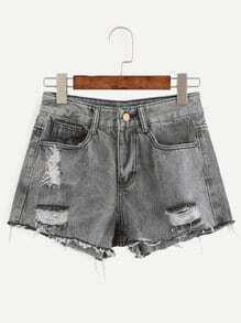 Grey Ripped Frayed Denim Shorts