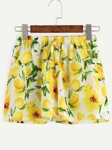 Yellow Lemon Print Drawstring Waist Loose Shorts