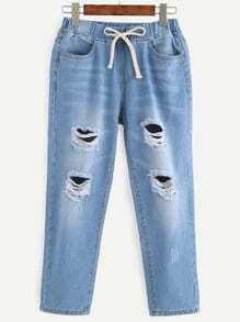 Blue Ripped Drawstring Waist Denim Pants