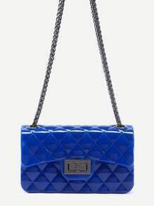 Royal Blue Plastic Quilted Flap Bag With Chain