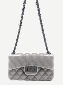 Light Grey Plastic Quilted Flap Bag With Chain