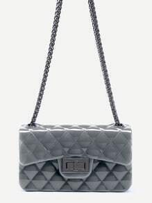 Dark Grey Plastic Quilted Flap Bag With Chain
