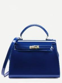 Blue Turnlock Strap Closure Plastic Satchel Bag