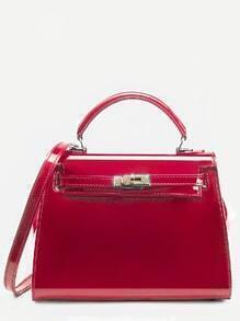 Red Turnlock Strap Closure Plastic Satchel Bag