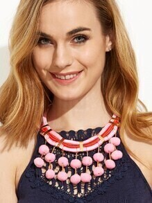 Pink Pom Pom Pendant Statement Necklace