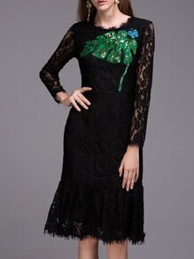 Black Leaf Sequined Butterfly Beading Lace Dress