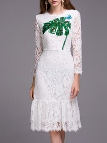 White Leaf Sequined Butterfly Beading Lace Dress