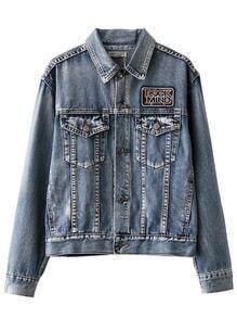 Blue Lapel Button Front Printed Jacket