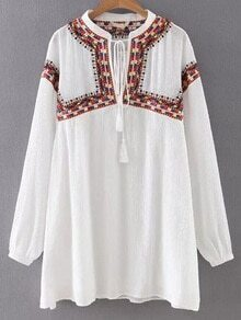 White Tie Neck Embroidery Shift Dress