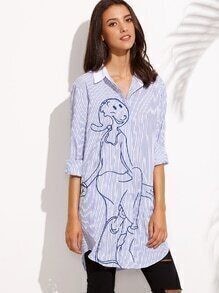Blue Stripe Embroidery Button Long Blouse