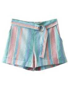 Multicolor Stripe Elastic Waist Turn up Shorts
