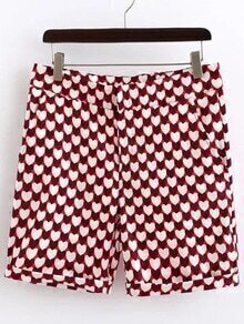 Red Heart Printed Zipper Fly Shorts