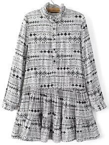 White Printed Button Pleated Dress