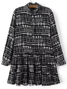 Black Printed Button Pleated Dress