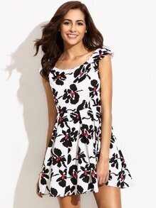 White Sleeveless Floral Skater Dress