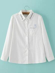 White Lapel Embroidery Pocket Blouse
