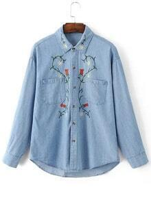 Blue Lapel Embroidery Dipped Hem Pocket Blouse