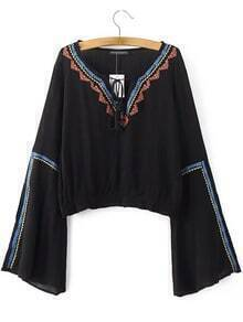 Black Tie Neck Bell Sleeve Embroidery Blouse