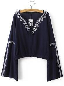 Navy Tie Neck Bell Sleeve Embroidery Blouse
