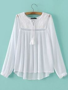 White Tie Neck Crochet Dipped Hem Blouse