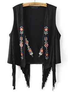 Black Sleeveless Embroidery Tassel Cardigan Outerwear