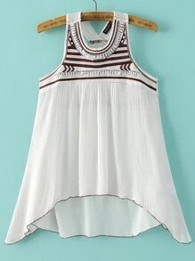 White Sequined Asymmetric Tank Top