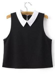 Black Peter Pan Collar Tank Top