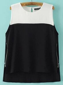 Color Block Dipped Hem Zipper Side Tank Top