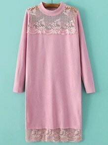Pink Band Collar Lace Long Sweater