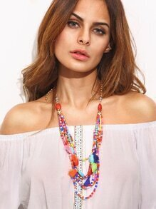 Multicolor Beaded Tassel Trim Layered Necklace