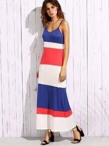 Color Block Cami Long Dress