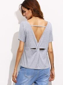 Heather Grey Twist V Back T-shirt